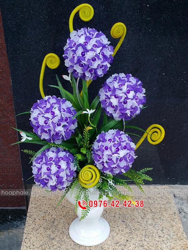 Bình hoa tú cầu tím trắng 5 bông - hoa pha lê