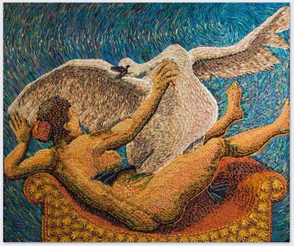 Federico Uribe pinturas feitas com lápis Leda e o cisne