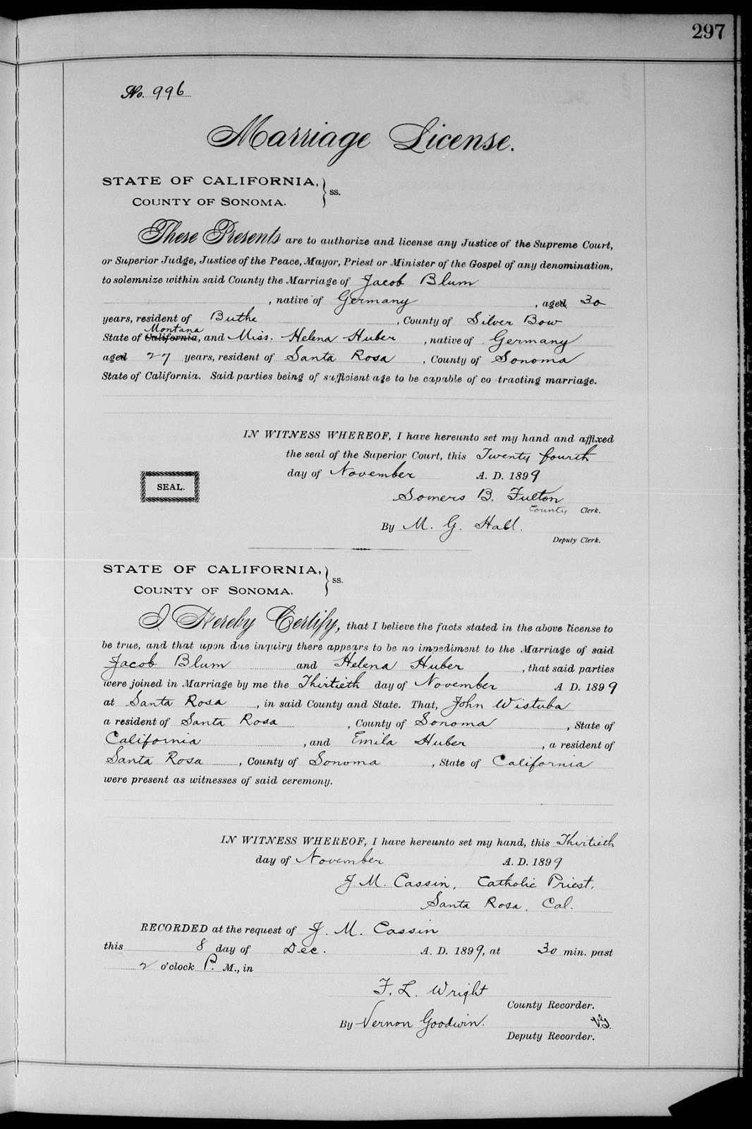 Nick gombashs genealogy blog familysearch find of the day familysearch find of the day marriage license of jacob blum helena huber aiddatafo Image collections