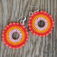 купить красные оранжевые серьги из бисера круглые бохо украшения