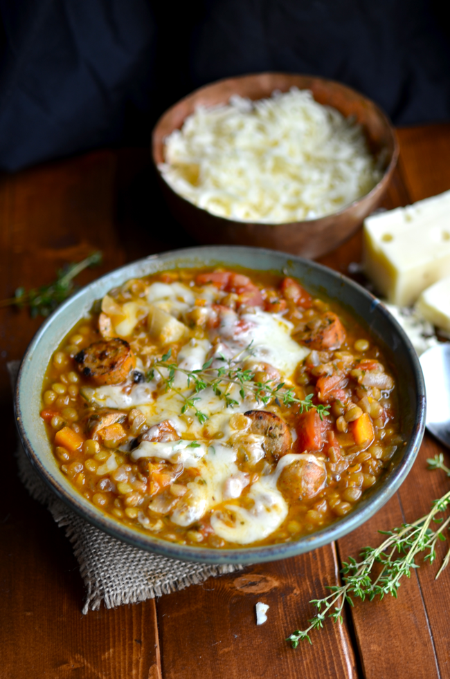 Yammie's Noshery: Lentil Stew with Roasted Garlic Chicken Sausage