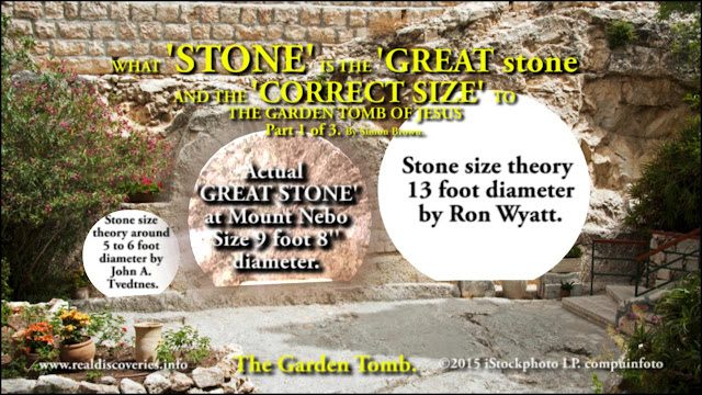 WHAT STONE IS THE 'GREAT STONE' AND CORRECT SIZE TO THE GARDEN TOMB OF JESUS? Part 1 of 3.