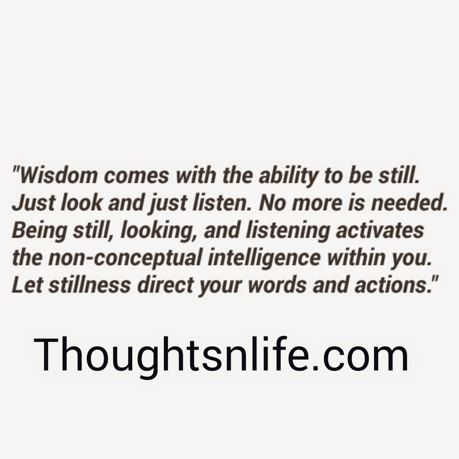 wisdom quotes, stillness quotes, words and actions, daily spiritual quotes, be still