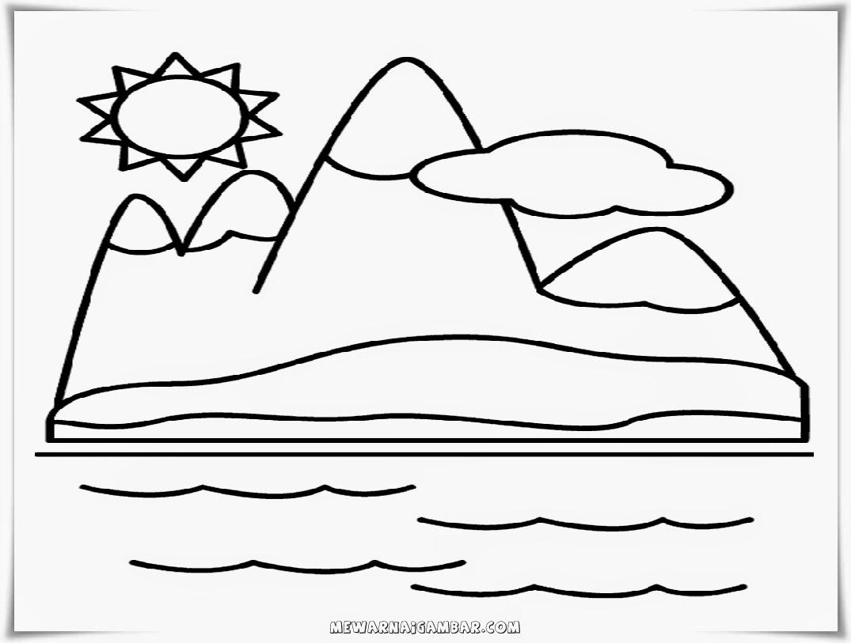 mewarnai gambar gunung dan matahari