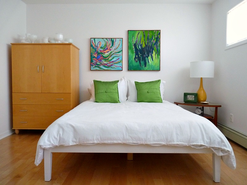 Bedroom with bold art