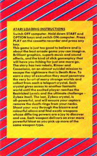 Contracubierta del videojuego Zybex, con las instrucciones para ATARI