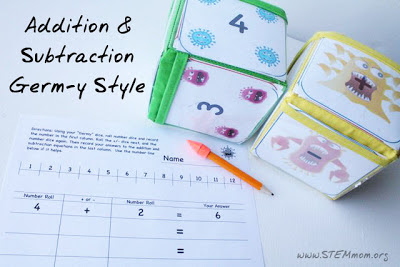 Germ-Themed Addition and Subtraction: Free Download from www.STEMmom.org