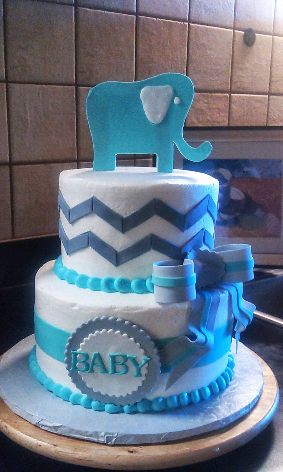 cafe aromas elephant chevron baby shower cake