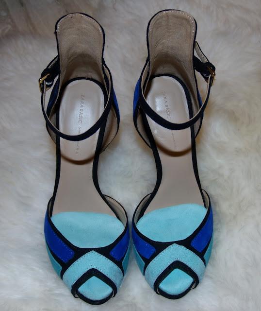 peep toes zara turquesa azul color block