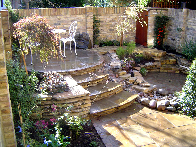 Garden interior design home and courtyard for Courtyard stone landscape