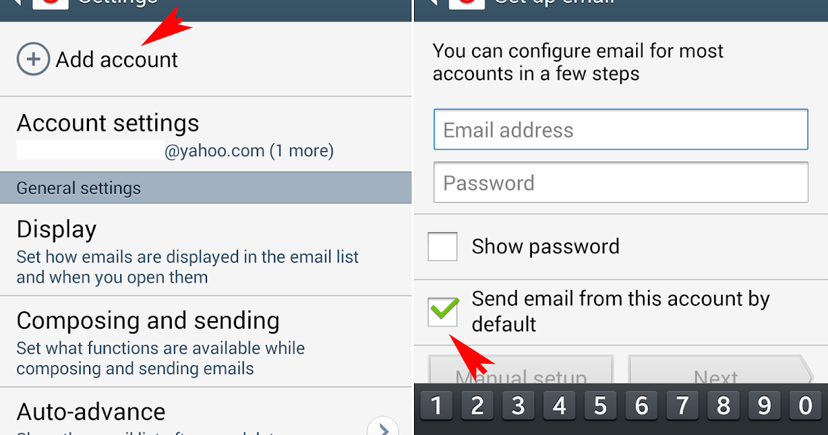 how to make an email account default