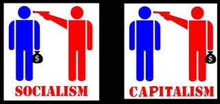 Cartoon: difference between socialism and capitalism