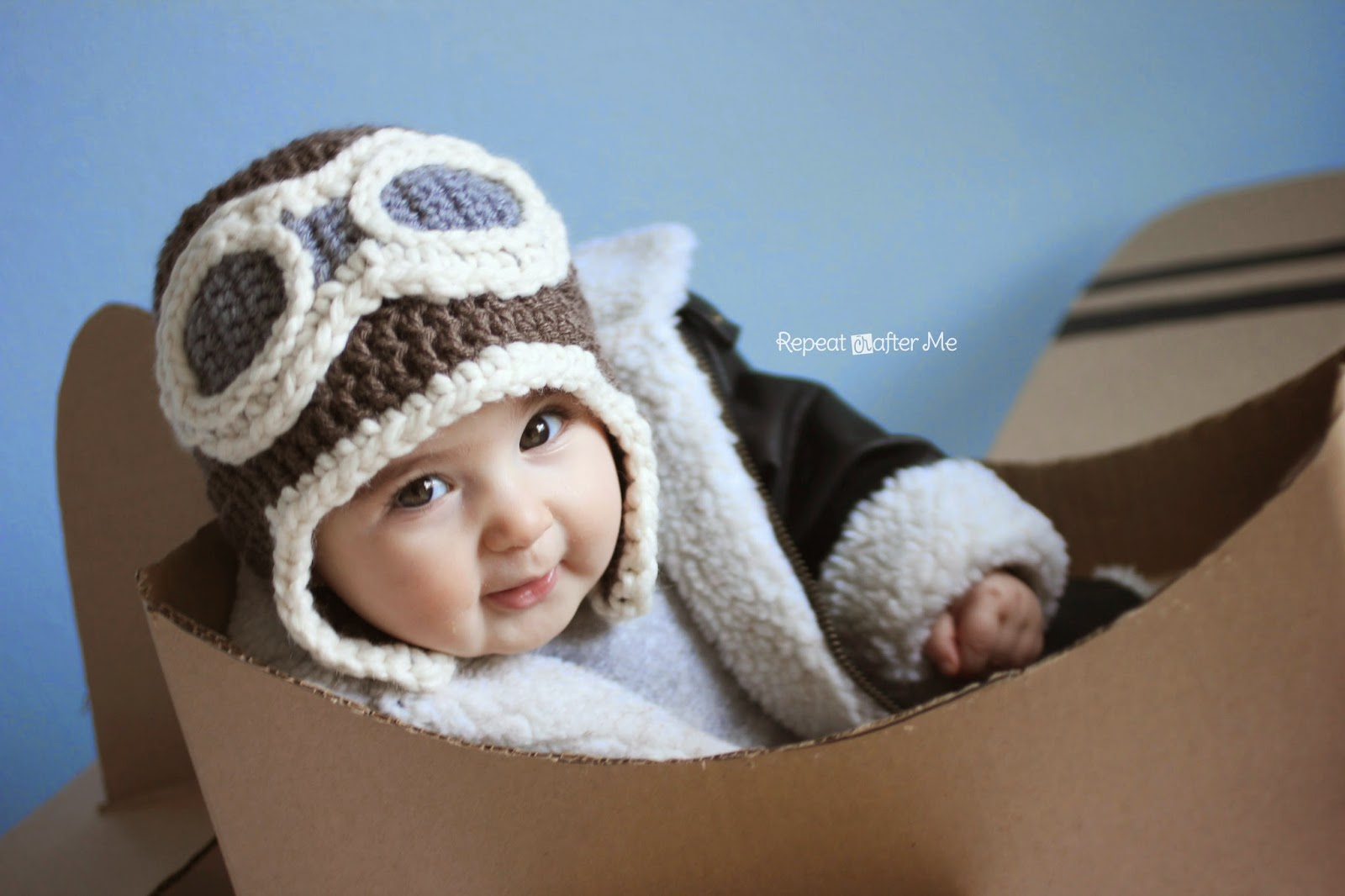 Knitting Pattern For Baby Pilot Hat : Repeat Crafter Me: Crochet Aviator Hat Pattern