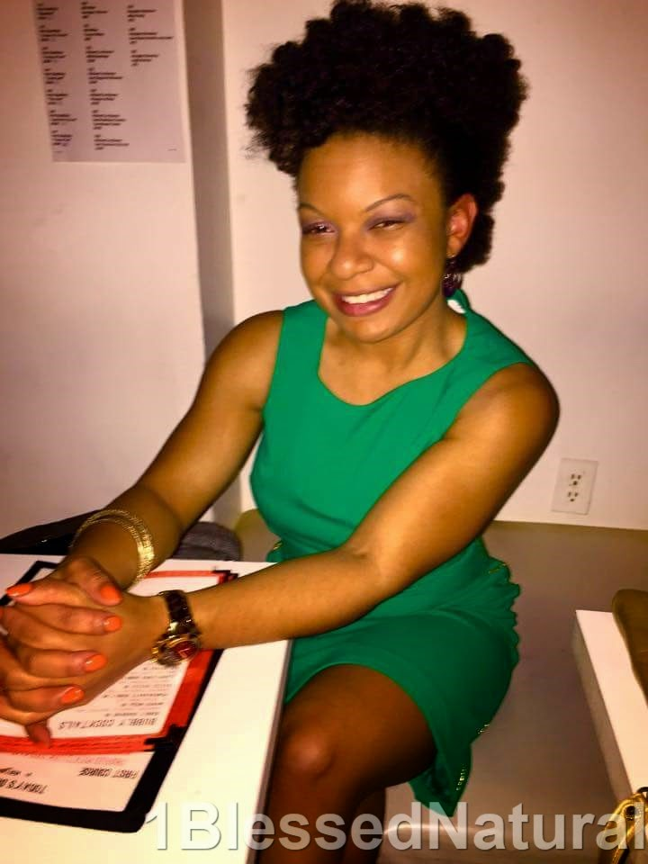 natural hair and green dress