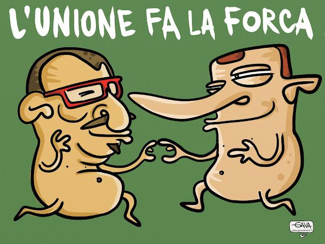 berlusconi maroni lega pdl alleanze L'unione fa la forca nudo occhiali rossi gava vignette satira