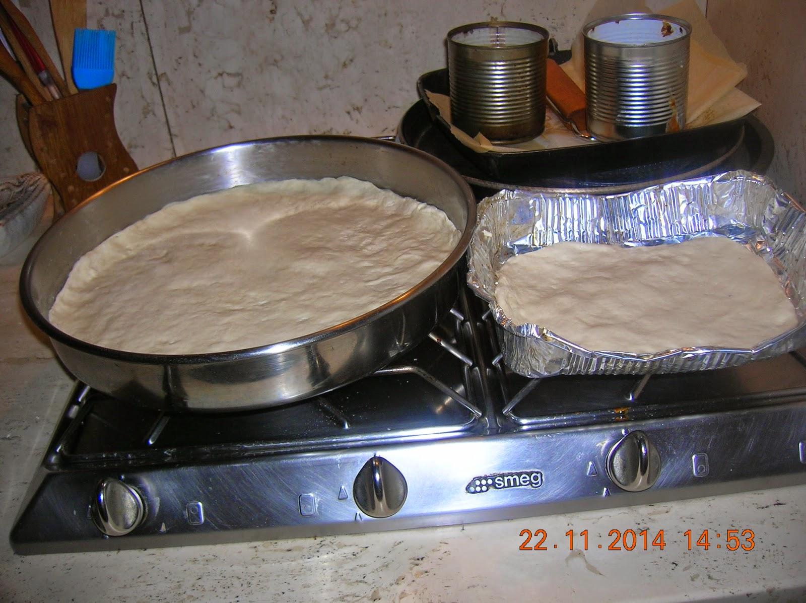 pizza lievitata 36 ore circa...con su frummentu - sformato  di carote e  tortino  di foglie di lattuga