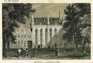 Stadhuis van Brugge. Naar een oude litho-prentkaart.