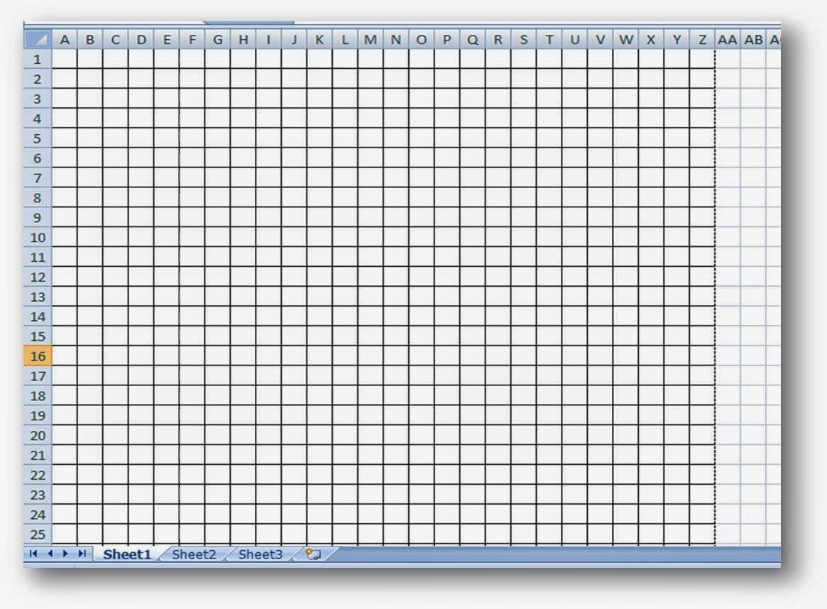 Membuat Buku Bergaris Kotak-Kotak di MS. Excel   De Eka