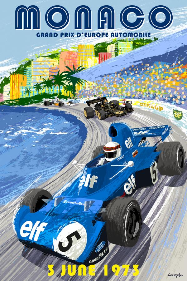 RETRO ILLUSTRATION: 1973 Monaco Grand Prix Formula 1 Poster