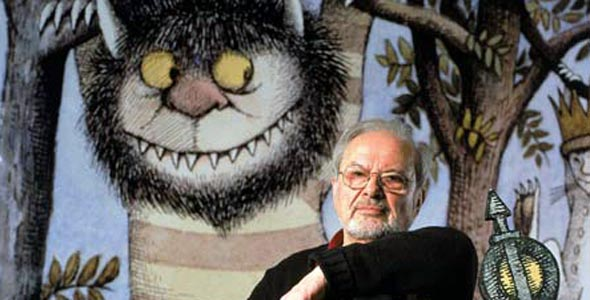 Children's book illustrator, Maurice Sendak, with one of his Wild Things.