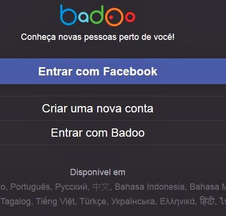 badoo movel entrar pelo facebook