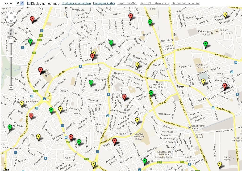 Mapping the location of the GSM Masts Across Nigeria Using Google
