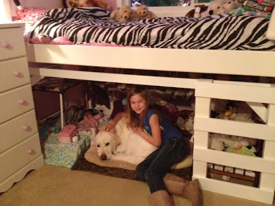 yellow Lab and young girl nestled under her bunk bed