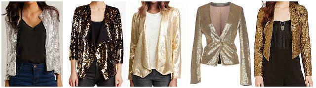 Romwe Slim Sequin Blazer $21 (regular $39)  Free Press Shine Cardigan Jacket $47  H&M Glittery Sequined Jacket $60 also in plus size  Replay Blazer $88 (regular $201)  Jessica Simpson Leonie Metallic Sequin Blazer $97 (regular $139)