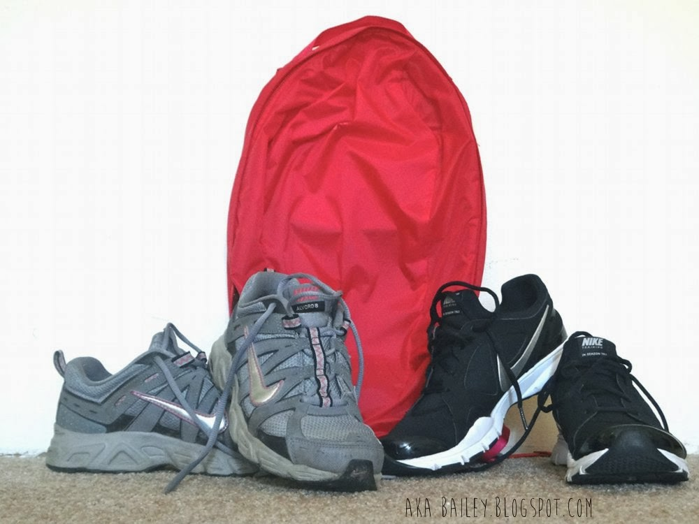 Nike Alvord 8 in grey and pink, bright pink MEC backpack, black and silver Nike In-Season TR2