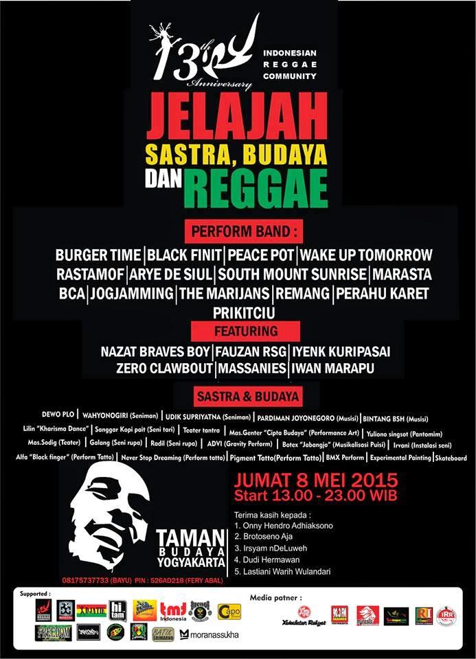 """Event : 13thAnnivIRC """"Jelajah, Sastra, Budaya & Reggae"""""""