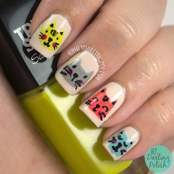 nails, nail art, nail polish, polish, cats, theme buffet, free hand, cat, kitten, hey darling polish