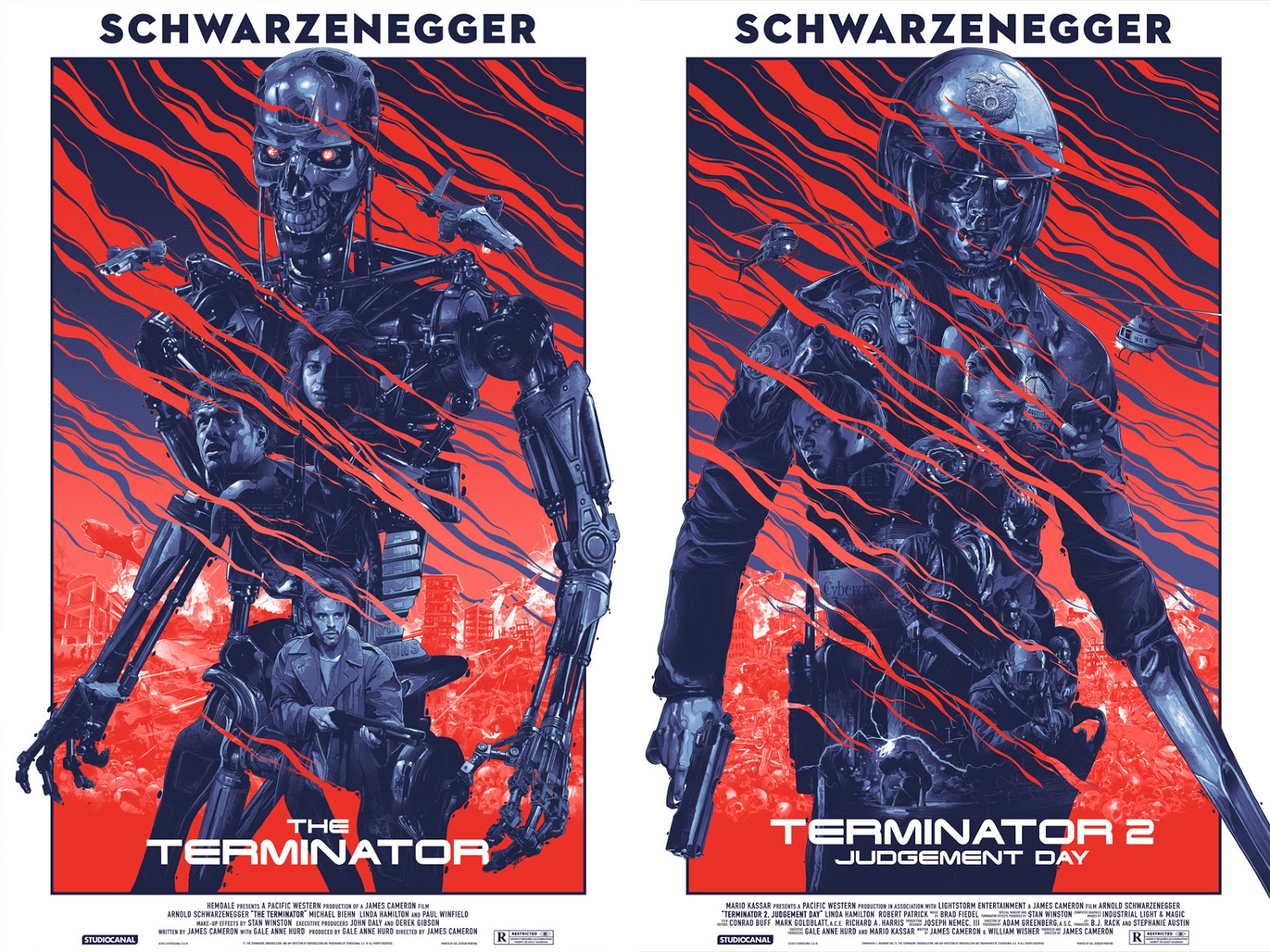 Terminator Dyptich Screen Print Series by Grzegorz Domaradzki - Terminator & Terminator 2: Judgment Day
