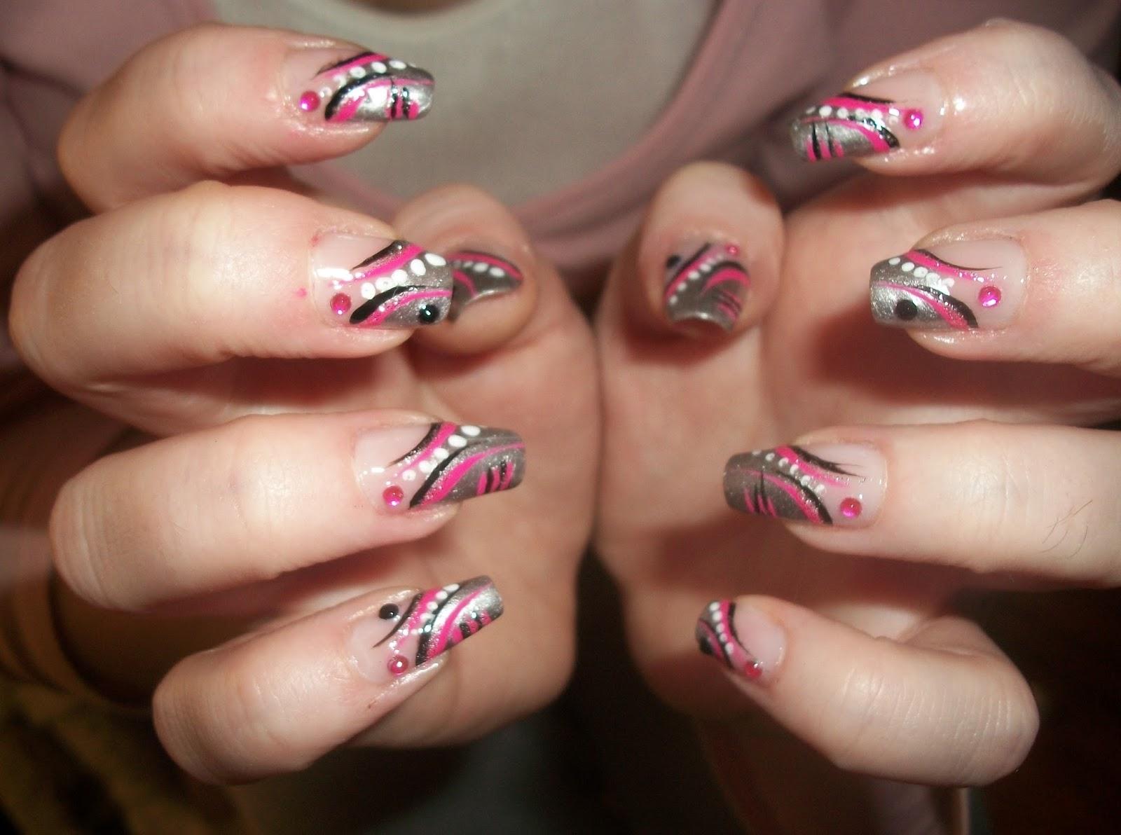 Simple Abstract Nail Art For Long Nails Silver Pink Black
