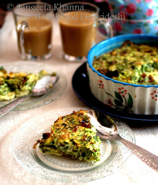 zucchini, cheese and sun dried tomatoes frittata... quick Sunday brunch and chai...