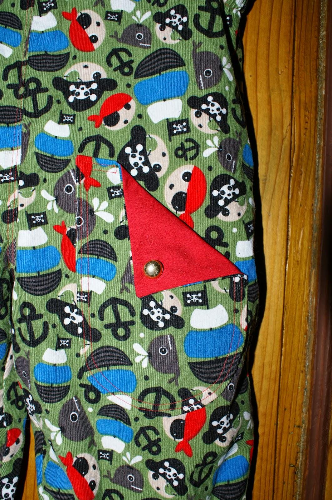 Taschen für Hose mit sichtbaren Innenfutter toller Effekt