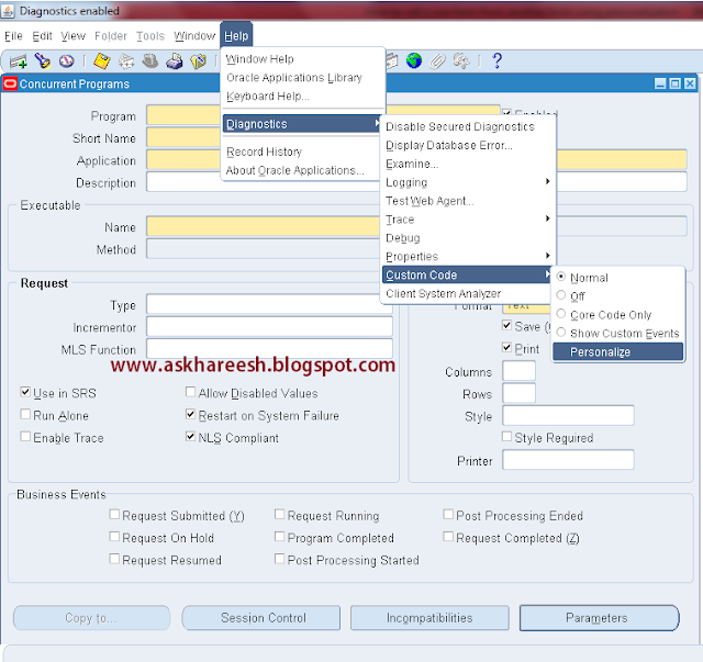 How to call one form from another form using Personalization, askhareesh blog on Oracle Applications
