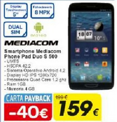 Uno smartphone android dual sim da 5 pollici Mediacom a 159 euro da Carrefour