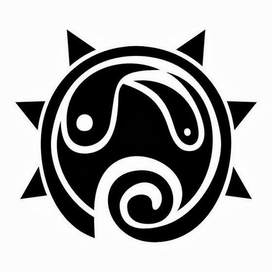 Tribal sun tattoo stencil