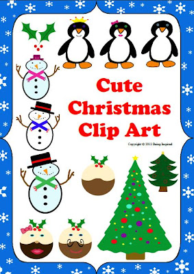 Cute Christmas Clip Art - Penguins, Snowmen, Christmas Trees