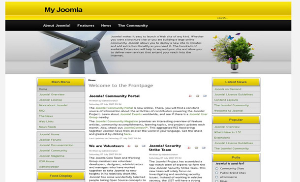 Yellow Joomla Templates Free Yellow Black Abstract Joomla Theme Template