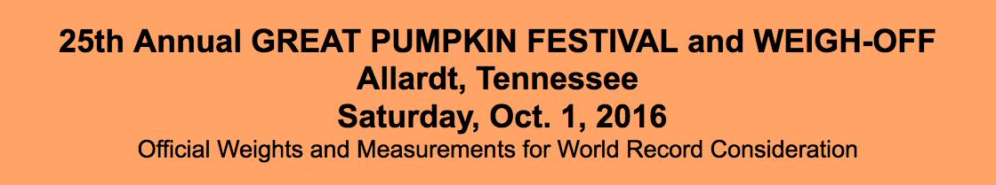 Allardt Great Pumpkin Festival and Weigh-off