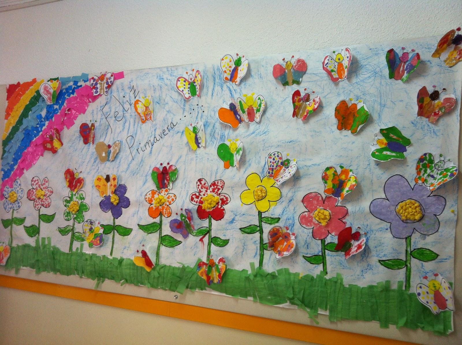 aula de infantil mural primavera