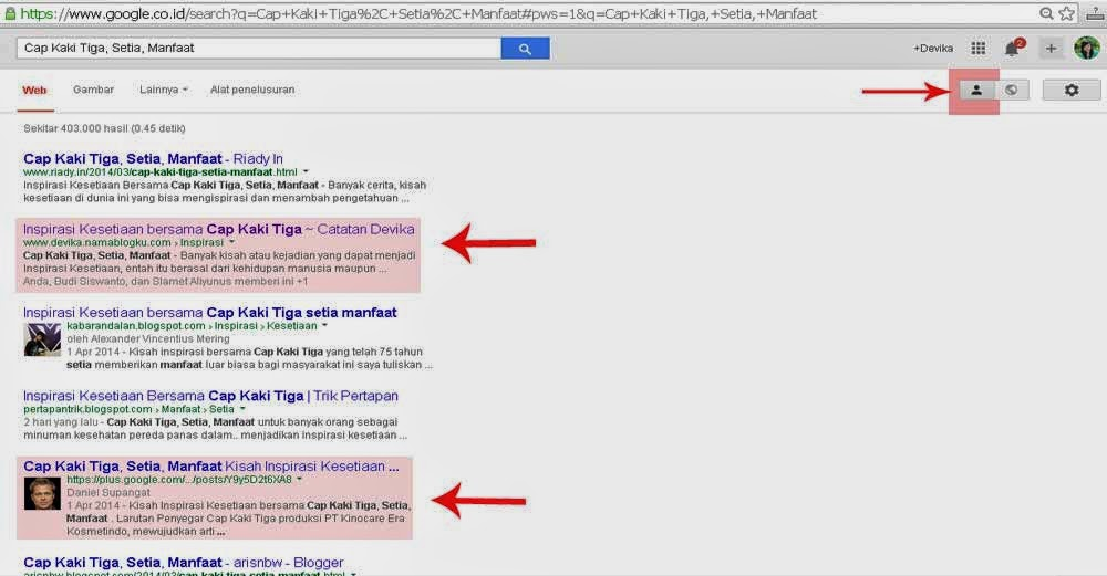 Tampilan Hasil Pencarian Google Baru 2014