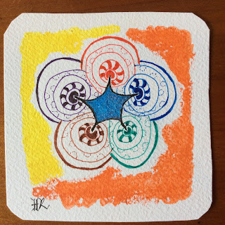 Zentangle, Diva Challenge #222, Colours of the Rainbow, Tizzy, Light to go places
