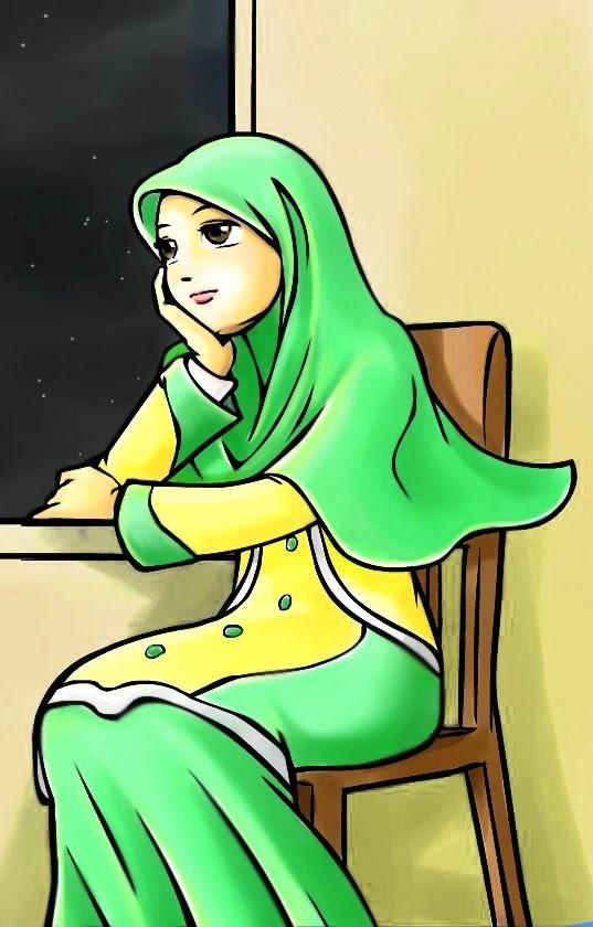 Wallpaper Kartun Wanita Berhijab 2017