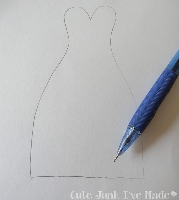 Homemade Wedding Card - New strapless dress stencil
