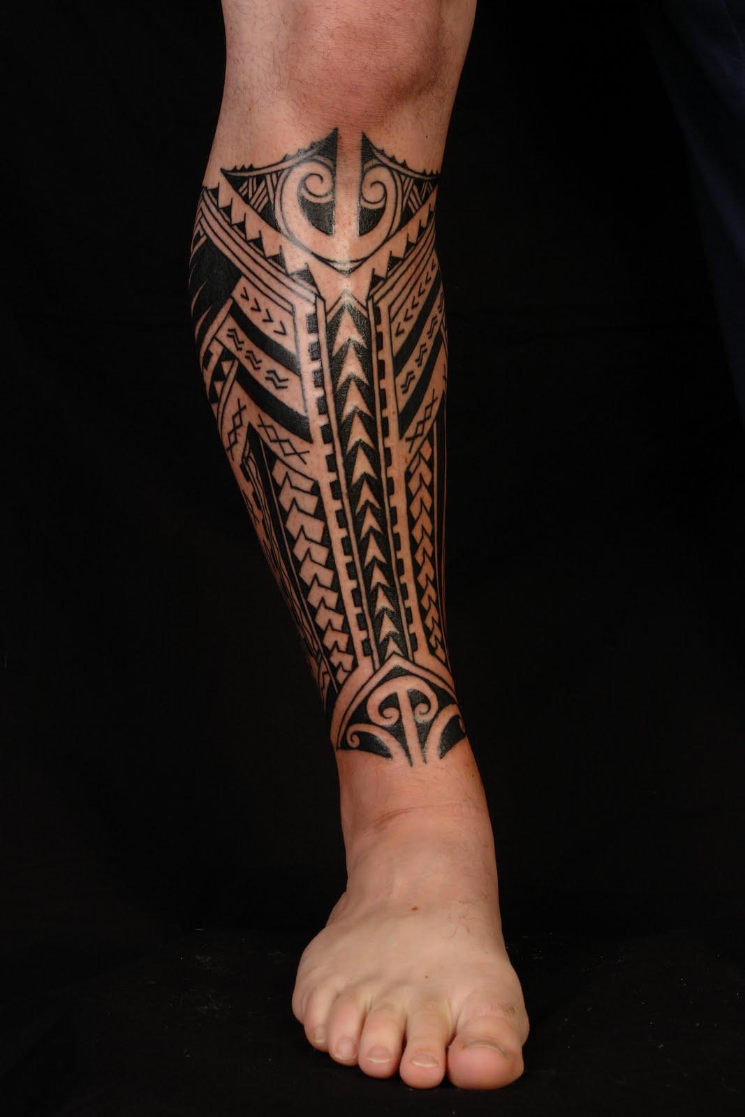 Эскиз тату маори на ноге