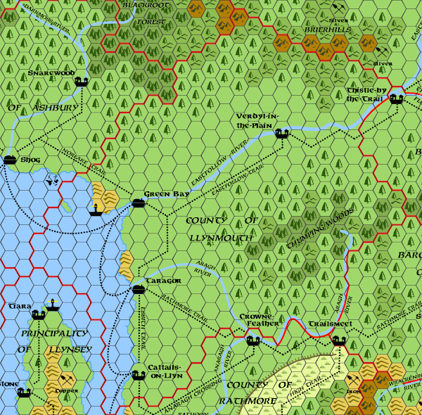 Mystara Alphatia Foresthome Llynmouth map