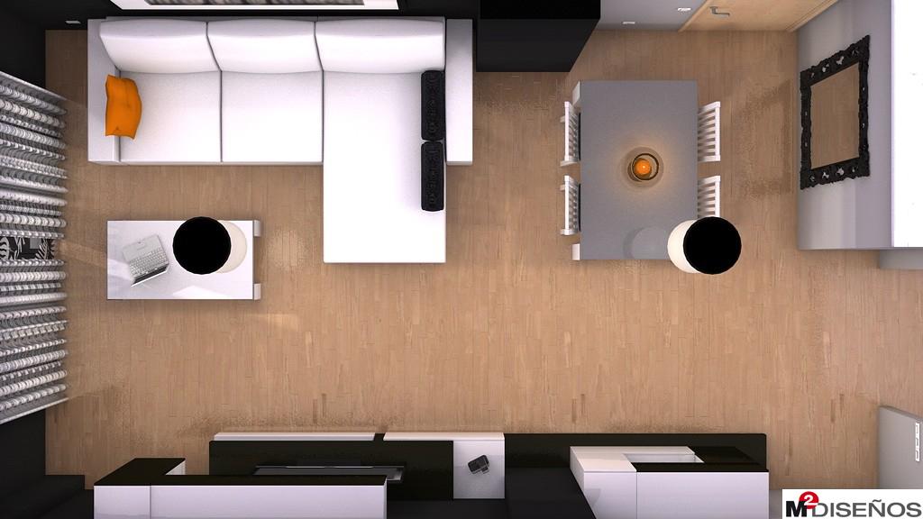 Sal n comedor blanco y negro partici n ambientes m - Distribucion salon cuadrado ...