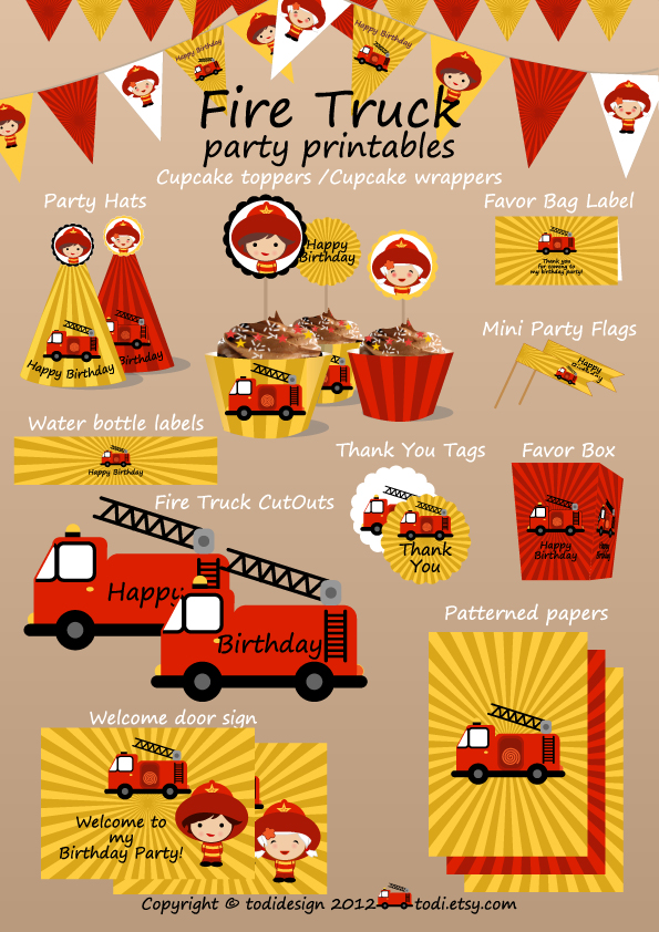 Punchy image inside fire truck printable